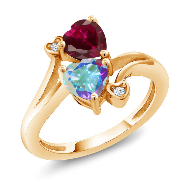 Gem Stone King 1.94 Ct Red Created Ruby Mercury Mist Mystic Topaz 18K Yellow Gold Plated Silver Ring