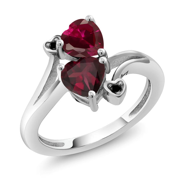 Gem Stone King 1.72 Ct Heart Shape Red Created Ruby Red Rhodolite Garnet 925 Sterling Silver Ring