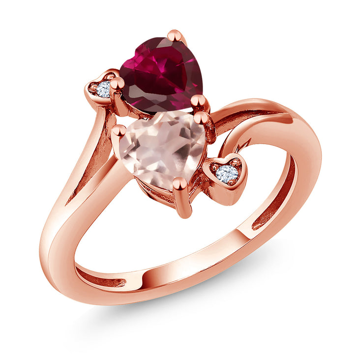 Gem Stone King 1.69 Ct Red Created Ruby Rose Rose Quartz 18K Rose Gold Plated Silver Ring
