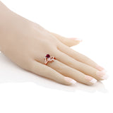 1.69 Ct Red Created Ruby Rose Rose Quartz 18K Rose Gold Plated Silver Ring