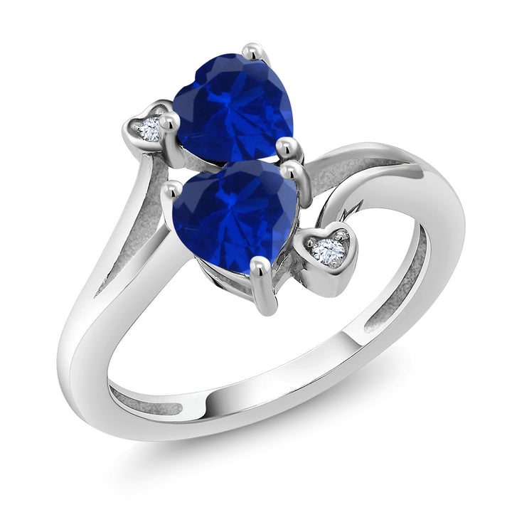 Gem Stone King 1.63 Ct Heart Shape Blue Simulated Sapphire 925 Sterling Silver Ring