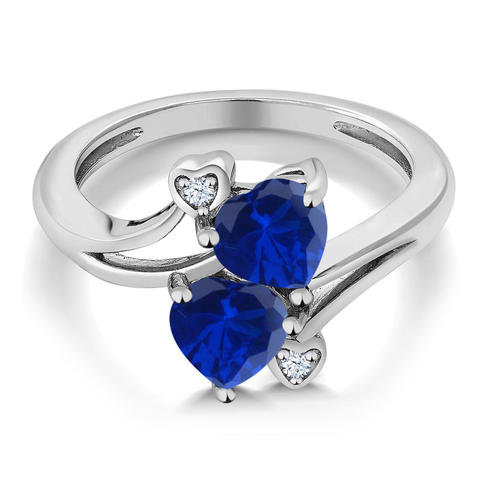 1.63 Ct Heart Shape Blue Simulated Sapphire 925 Sterling Silver Ring