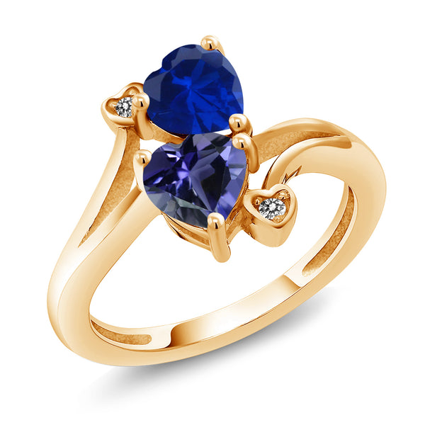 Gem Stone King 1.41 Ct Blue Simulated Sapphire Blue Iolite 18K Yellow Gold Plated Silver Ring
