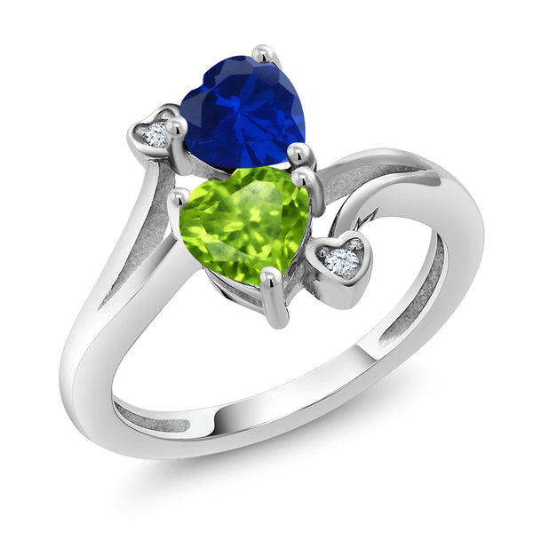 1.66 Ct Heart Shape Blue Simulated Sapphire and Green Peridot 925 Silver Ring