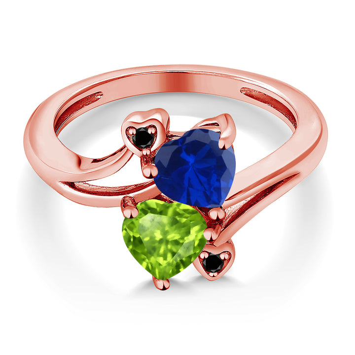 1.66 Ct Blue Simulated Sapphire Green Peridot 18K Rose Gold Plated Silver Ring