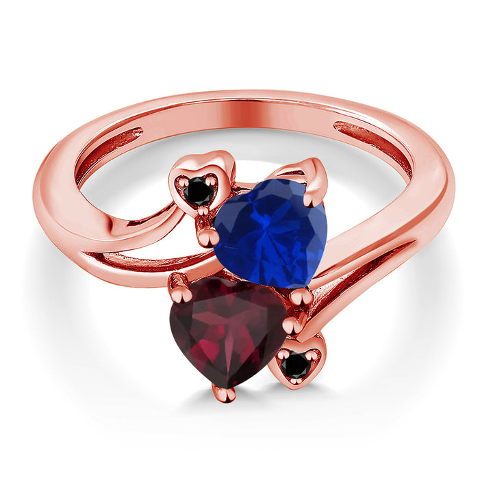 1.55 Ct Simulated Sapphire Rhodolite Garnet 18K Rose Gold Plated Silver Ring