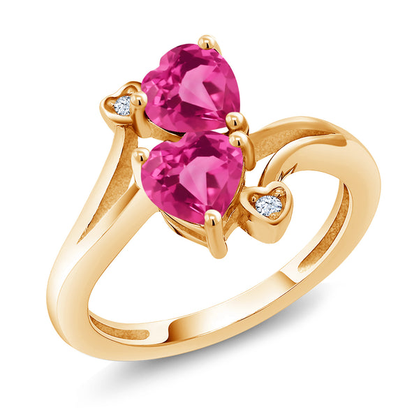 Gem Stone King 1.78 Ct Pink Created Sapphire Pink Mystic Topaz 18K Yellow Gold Plated Silver Ring
