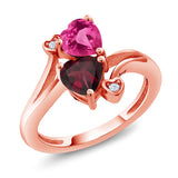 Gem Stone King 1.55 Ct Pink Created Sapphire Red Rhodolite Garnet 18K Rose Gold Plated Silver Ring