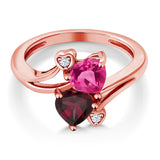 1.55 Ct Pink Created Sapphire Rhodolite Garnet 18K Rose Gold Plated Silver Ring