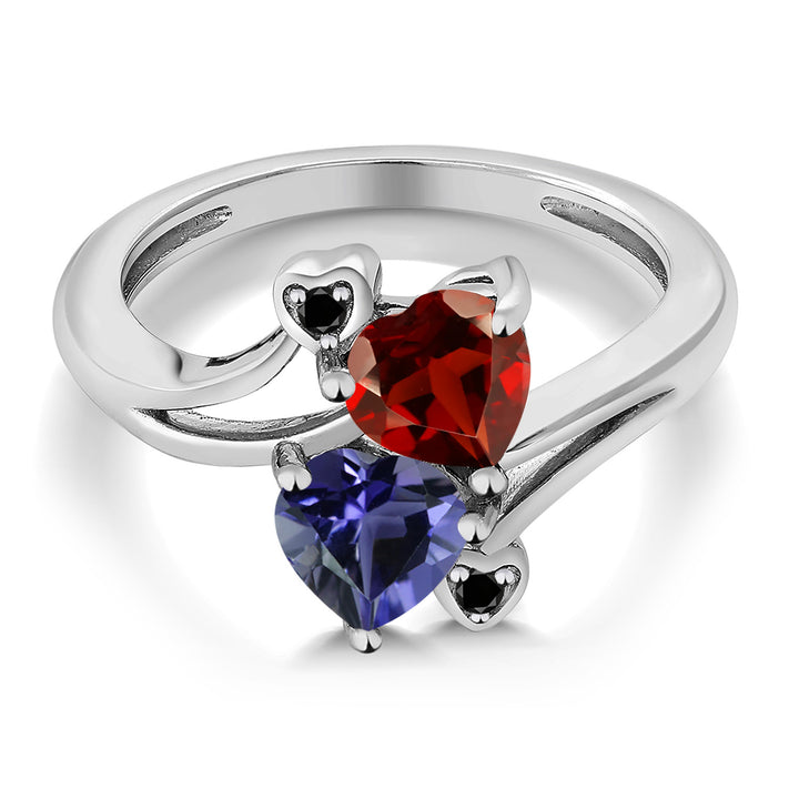 1.51 Ct Heart Shape Red Garnet Blue Iolite 925 Sterling Silver Ring