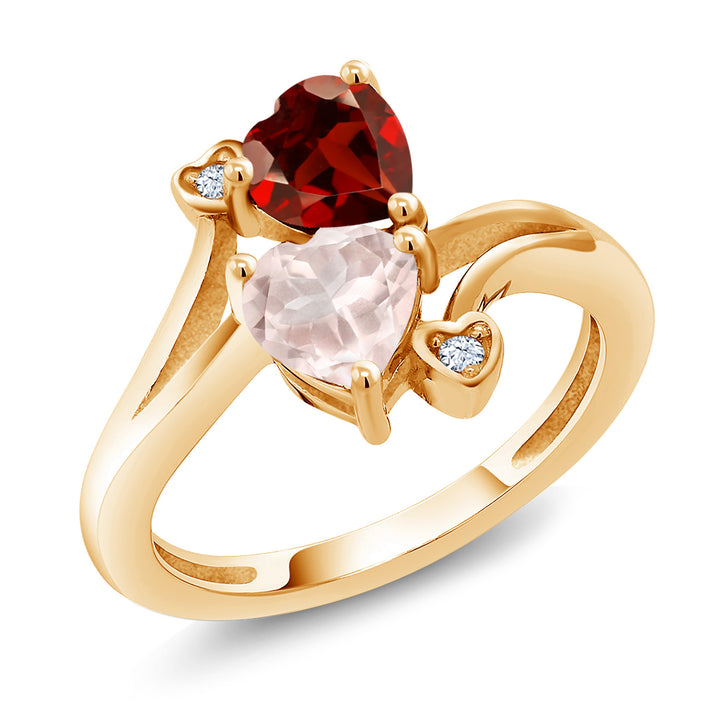 1 63 Ct Red Garnet Rose Rose Quartz 18K Yellow Gold Plated Silver