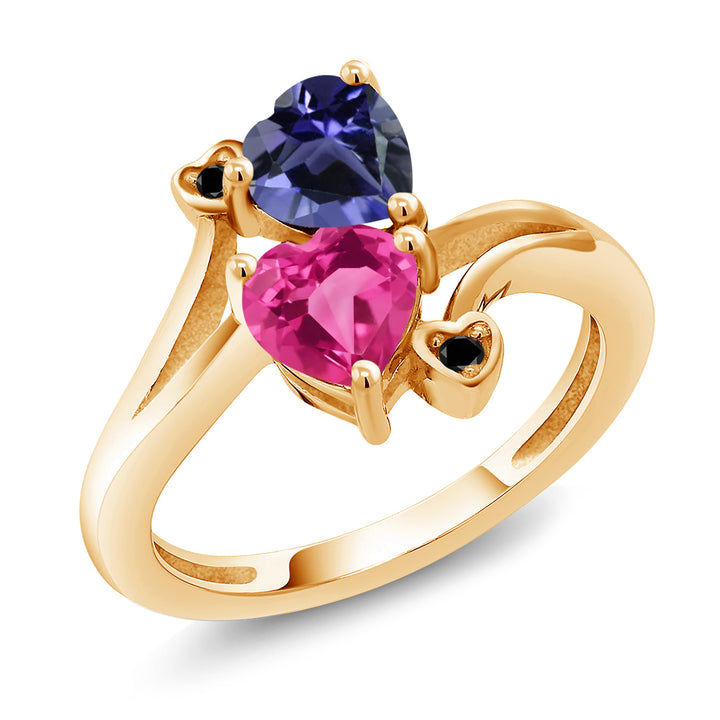 Gem Stone King 1.41 Ct Blue Iolite Pink Created Sapphire 18K Yellow Gold Plated Silver Ring