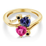 1.41 Ct Blue Iolite Pink Created Sapphire 18K Yellow Gold Plated Silver Ring