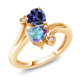 Gem Stone King 1.56 Ct Blue Iolite Mercury Mist Mystic Topaz 18K Yellow Gold Plated Silver Ring