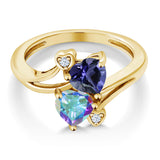 1.56 Ct Blue Iolite Mercury Mist Mystic Topaz 18K Yellow Gold Plated Silver Ring