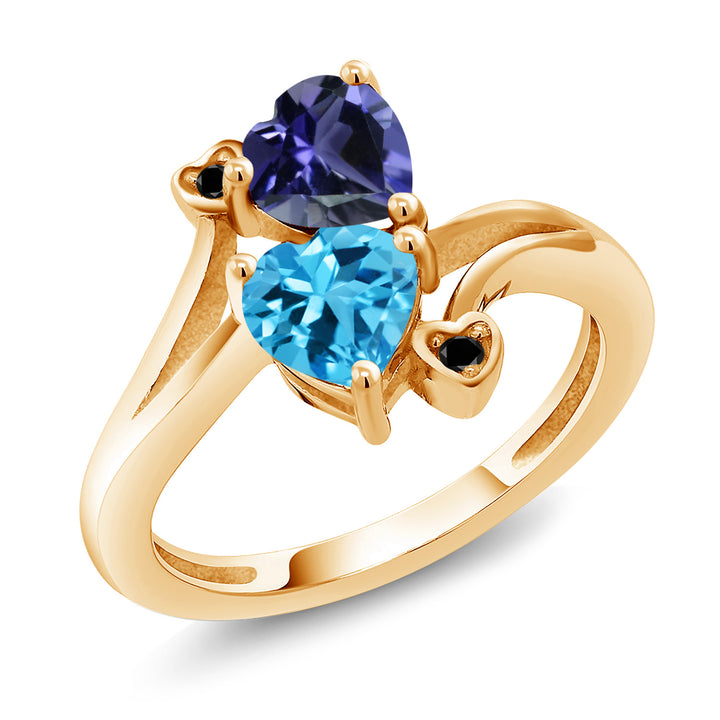 Gem Stone King 1.56 Ct Blue Iolite Swiss Blue Topaz 18K Yellow Gold Plated Silver Ring