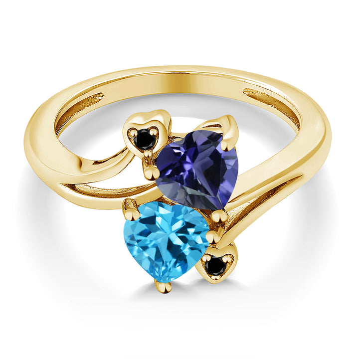1.56 Ct Blue Iolite Swiss Blue Topaz 18K Yellow Gold Plated Silver Ring