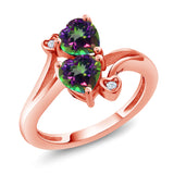 Gem Stone King 1.93 Ct Heart Shape Green Mystic Topaz 18K Rose Gold Plated Silver Ring