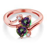 1.93 Ct Heart Shape Green Mystic Topaz 18K Rose Gold Plated Silver Ring