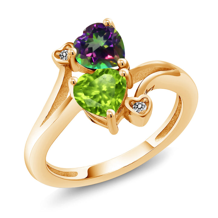 Gem Stone King 1.81 Ct Green Mystic Topaz Green Peridot 18K Yellow Gold Plated Silver Ring