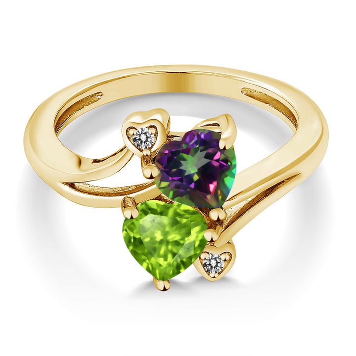 1.81 Ct Green Mystic Topaz Green Peridot 18K Yellow Gold Plated Silver Ring