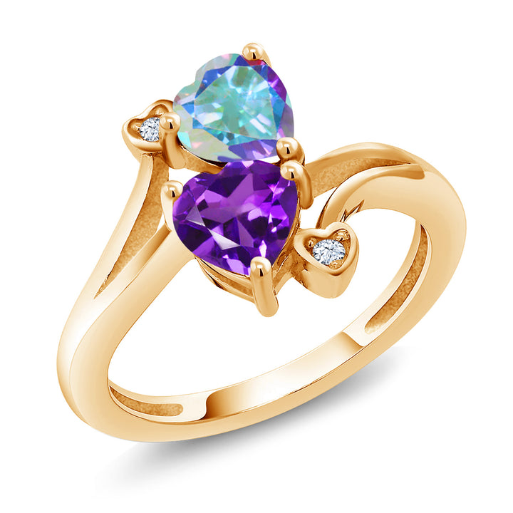Gem Stone King 1.63 Ct Mercury Mist Mystic Topaz Purple Amethyst 18K Yellow Gold Plated Silver Ring
