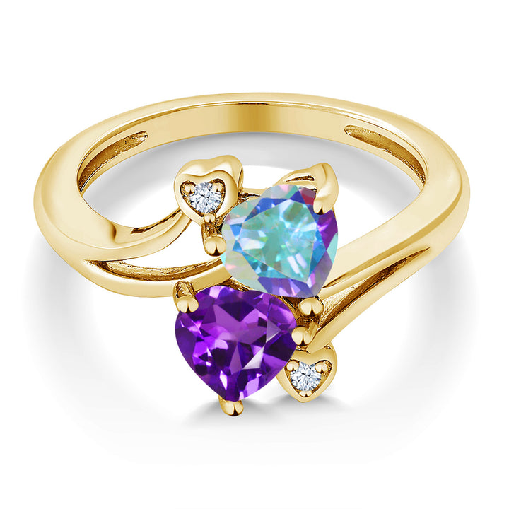 1.63 Ct Mercury Mist Mystic Topaz Amethyst 18K Yellow Gold Plated Silver Ring