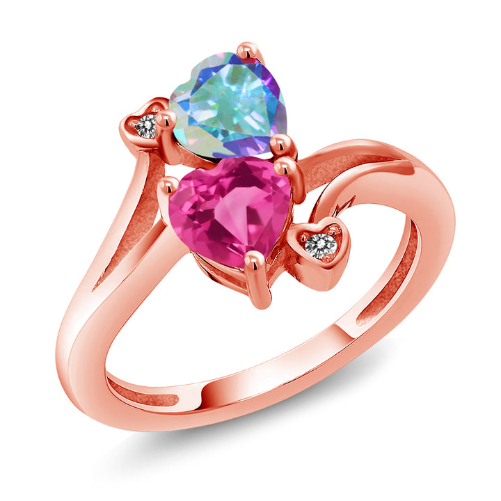 Gem Stone King 1.93 Ct Mercury Mist Mystic Topaz Pink Mystic Topaz 18K Rose Gold Plated Silver Ring