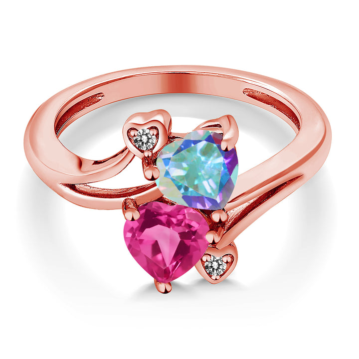 1.93 Ct Mercury Mist and Pink Mystic Topaz 18K Rose Gold Plated Silver Ring