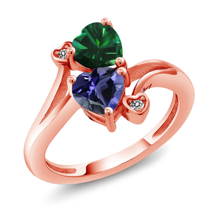 Gem Stone King 1.29 Ct Green Simulated Emerald Blue Iolite 18K Rose Gold Plated Silver Ring