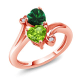 Gem Stone King 1.54 Ct Green Simulated Emerald Green Peridot 18K Rose Gold Plated Silver Ring