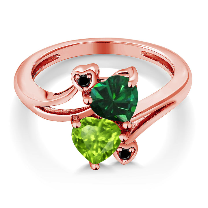 1.54 Ct Green Simulated Emerald Green Peridot 18K Rose Gold Plated Silver Ring