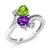 1.51 Ct Heart Shape Green Peridot Purple Amethyst 925 Sterling Silver Ring