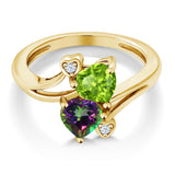 1.81 Ct Green Peridot Green Mystic Topaz 18K Yellow Gold Plated Silver Ring