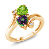 Gem Stone King 1.81 Ct Green Peridot Green Mystic Topaz 18K Yellow Gold Plated Silver Ring