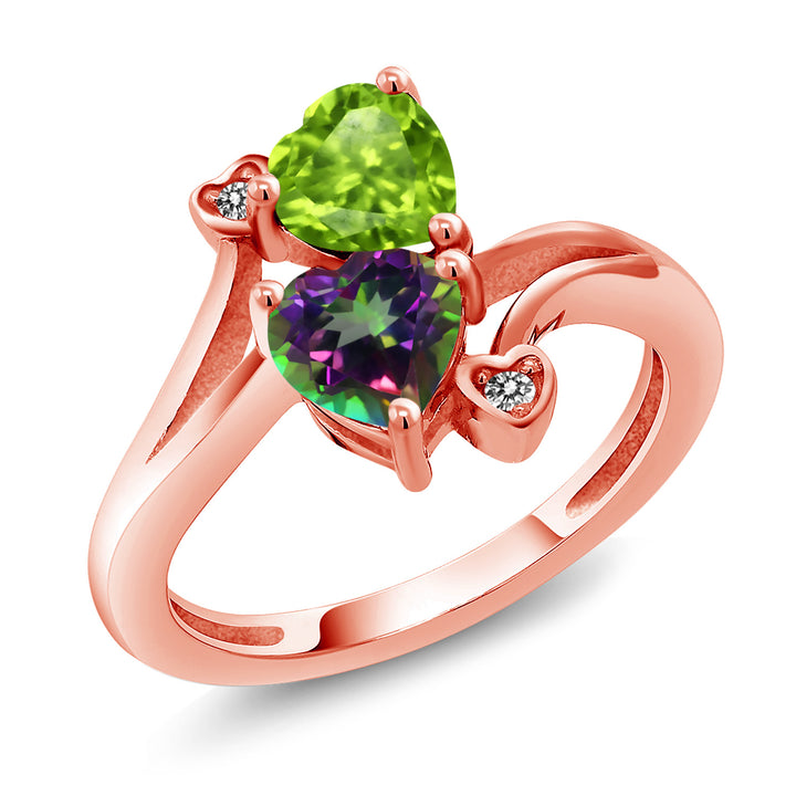 Gem Stone King 1.81 Ct Green Peridot Green Mystic Topaz 18K Rose Gold Plated Silver Ring