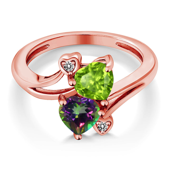 1.81 Ct Green Peridot Green Mystic Topaz 18K Rose Gold Plated Silver Ring