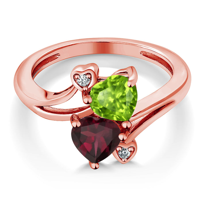 1.58 Ct Green Peridot Red Rhodolite Garnet 18K Rose Gold Plated Silver Ring