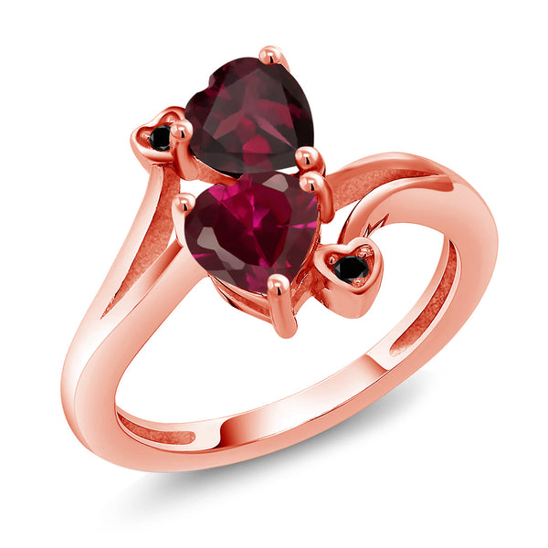 Gem Stone King 1.72 Ct Red Rhodolite Garnet Red Created Ruby 18K Rose Gold Plated Silver Ring