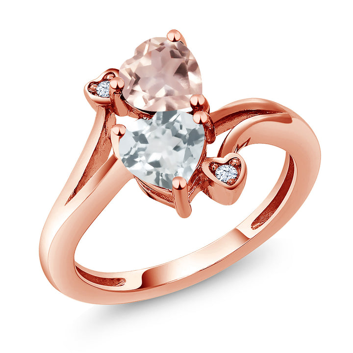 Gem Stone King 1.40 Ct Rose Rose Quartz Sky Blue Aquamarine 18K Rose Gold Plated Silver Ring