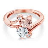1.40 Ct Rose Rose Quartz Sky Blue Aquamarine 18K Rose Gold Plated Silver Ring