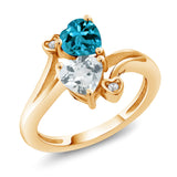 Gem Stone King 1.65 Ct London Blue Topaz Sky Blue Aquamarine 18K Yellow Gold Plated Silver Ring