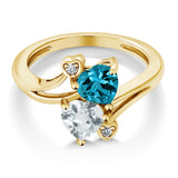 1.65 Ct London Blue Topaz Sky Blue Aquamarine 18K Yellow Gold Plated Silver Ring