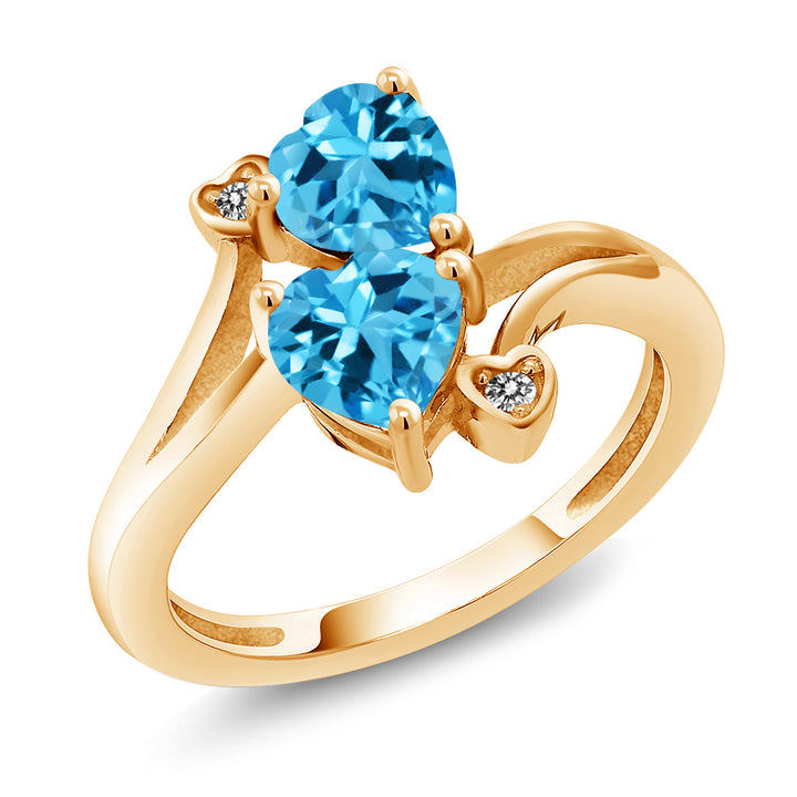 Gem Stone King 1.93 Ct Heart Shape Swiss Blue Topaz 18K Yellow Gold Plated Silver Ring