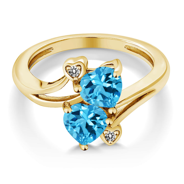 1.93 Ct Heart Shape Swiss Blue Topaz 18K Yellow Gold Plated Silver Ring