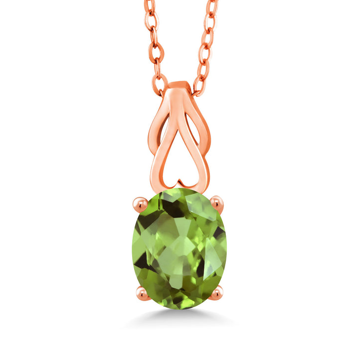Gem Stone King 3.00 Ct Oval Green Peridot 18K Rose Gold Plated Silver Pendant With Chain