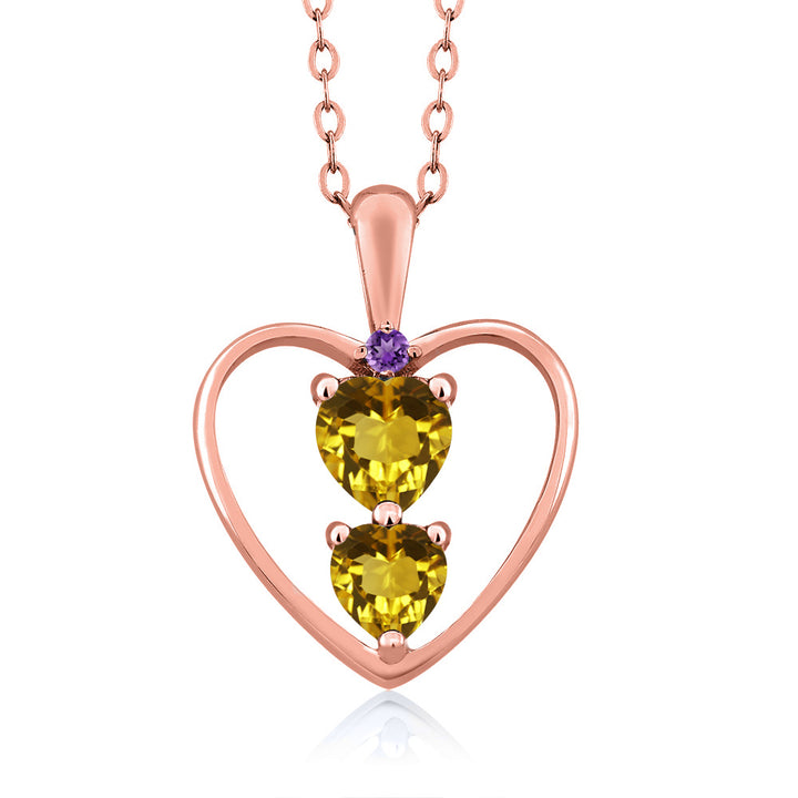 Gem Stone King 0.69 Ct Heart Shape Yellow Citrine 18K Rose Gold Plated Silver Pendant