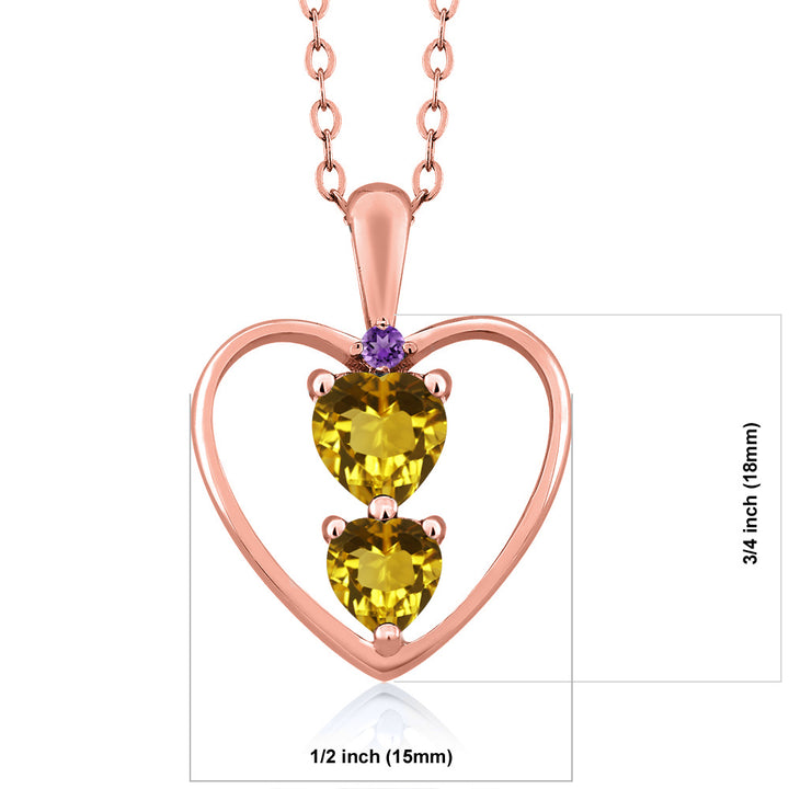 0.69 Ct Heart Shape Yellow Citrine 18K Rose Gold Plated Silver Pendant