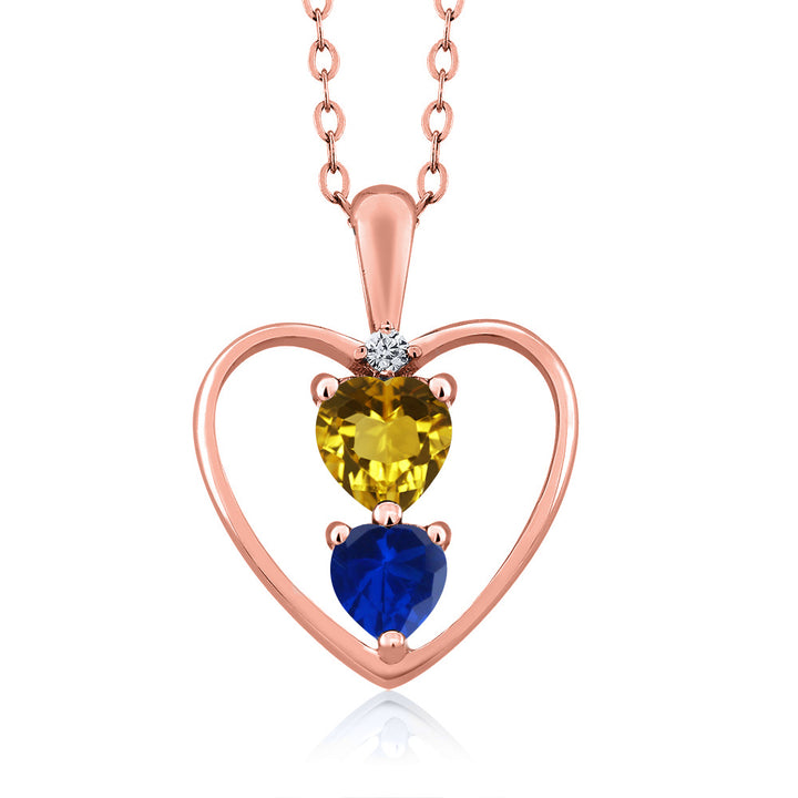 Gem Stone King 0.95 Ct Heart Shape Red Garnet Blue Simulated Sapphire 18K White Gold Plated Pendant