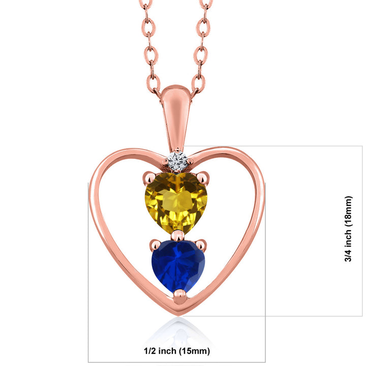 0.95 Ct Heart Shape Red Garnet Blue Simulated Sapphire 18K White Gold Plated Pendant